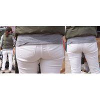爽やかで美形の若ママさんはホワイトジーンズに美尻の恥ずかしいヒップラインを丸出しで覗かせてくれる!!