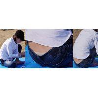清潔感溢れる爽やかな可愛い若ママさんはジーンズの腰から蒸れた光沢アイボリーのパンティーをチラチラと覗かせてくれる!!