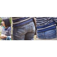 色白でムッチリした優しそうな可愛いママさんはジーンズ美巨尻にまん丸ヒップラインを浮かばせる!!