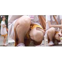 清潔感溢れるスレンダーな美形ママさんはキュロットの奥の蒸れた水色の綿パンティーをチラチラと覗かせてくれる!!