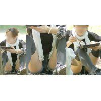 可愛いギャルママは遊んで蒸れた股間にデニムのショートパンツがしっかりと張り付く!!