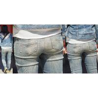 物凄く性格がキツそうなツン面美形のママさんはジーンズ美尻に喰い込んだパンティーのラインをクッキリと浮かび上がらせる!!