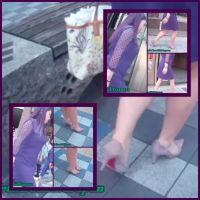 セクシーなヒールを素足で履いたグラマー系激カワお姉さんの街歩き SET