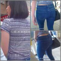 素人モデル舞彩の腰見せタイトジーンズで街歩き♪其の4