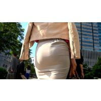 【FHD 60fps動画】ロングタイトスカートOLのパンティーライン