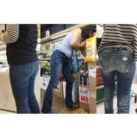 【ママ尻】むっちむちしたお尻を包み込むかなり履き込んだジーンズ