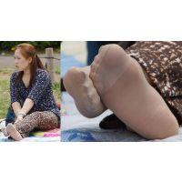 【足裏】色白でむっちりしたキレイな奥さんの恥ずかしい蒸れたパンストの足の裏