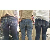 【ママ尻】お買い物中の奥さんたちのジーンズお尻
