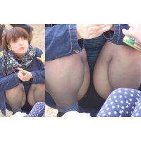 むっちり体型のお姉さんの蒸れた極薄タイツ股間