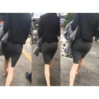【タイトスカート美尻】明らかに「不倫」カップルがラブホテル前で「ギュ」っと握る手がいやらしい!