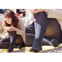 【足裏】むっちりした身体のお姉さんが見せるタイツ足の裏とランガード