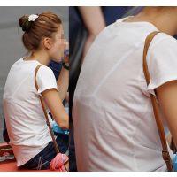 【透けブラ】小さめで純白のブラジャーが透けちゃってるお姉さん
