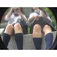 [019]ベンチで休憩中の制服ちゃん暑さでムレムレ、自らスカート捲って自爆パンチラ!!