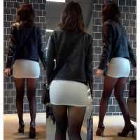 [Miss ass OL's town walk] ☆ white tight sexy sexy pantyhose!