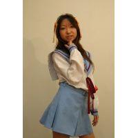 【個人撮影】コスプレヌードよしみちゃん【ハルヒ制服・下着・貧乳・ヌード】