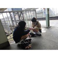 『パンチラ狙い撮り』街の通学女子高生