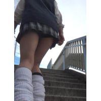 【低視線追跡動画�】駅の階段女子高生