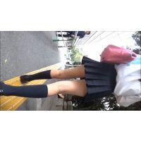 【制服動画�横】正統派ミニスカ女子ひざ追跡