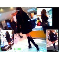 デパ地下の食品売場で見かけたニーハイブーツの極上美脚嬢を追跡する