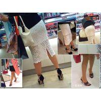 街でお買い物中の人妻のパンストつま先やお尻がいやらしくて観察する