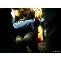 電車内でサラリーマンの間から眺める向かいの席のおねーさんのタイツ