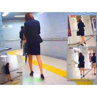 地下鉄駅構内を電話しながら歩いていた生保レディーの美脚を追跡観察