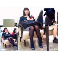 休憩用ソファーに座った姿が美しかった美脚OLをじっくりと観察する