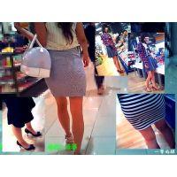 買物に来ていた美脚美尻のおねーさんに接近して足やお尻を観察する