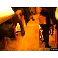 喫茶店で女友達とお茶しつつこっそりパンスト美脚のギャルを隠し撮り