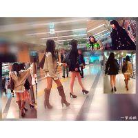 繁華街をひときわ目立つ足長の美脚で歩き回る美人な姉妹を追跡観察