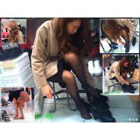 靴売り場で試し履きしている女子大生風おねーさんの足を観察する