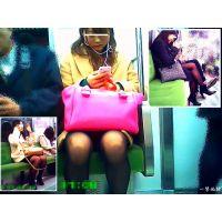 電車内で座っている薄黒パンストのおねーさんにロックオン観察3連発