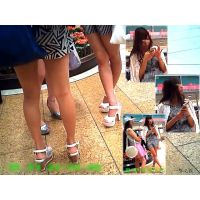 待合せ広場に立っていたヤングギャルの悩ましい美脚を観察する