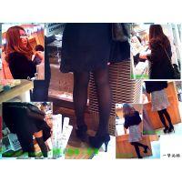 小さめの黒タイツ美脚嬢の買い物シーンと大きめの黒タイツ美脚嬢観察