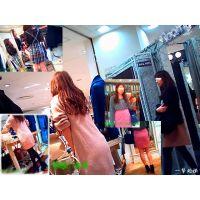 洋服屋で女友達が洋服選びに夢中な間に美脚な店員さんを撮ってみた3