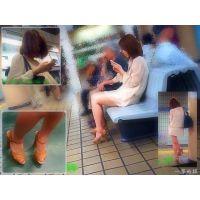ちょっと太目な清楚系女子○生のナマ足が見たくて同じ電車に乗り込む