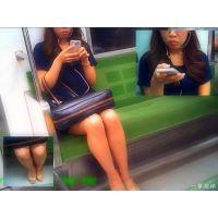電車内でスマホをずっといじってたややポチャおねーさんの生足を観察
