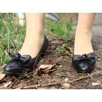 323パンプス画像 本革りぼんパンプス 草踏系画像