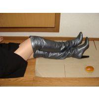 157ブーツ画像 ピンキーの本革ニーハイブーツ パン踏み