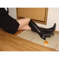 155ブーツ画像 本革製ロングブーツ パン踏み