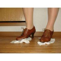 258ブーツ画像 キャメル色のブーティー 雑巾踏み