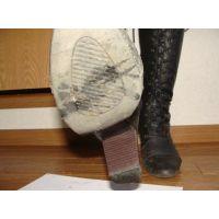 194ブーツ画像 編み上げロングブーツ 踏み