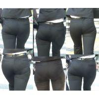 ピチピチパンツスーツ29_黒パンツスーツ接写[フルHD]