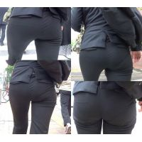 ピチピチパンツスーツ35_黒パンツスーツ接写[フルHD]