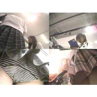 【オリジナル】念願の綿の縞パンがたまりません!JK(JC?)パンチラ動画