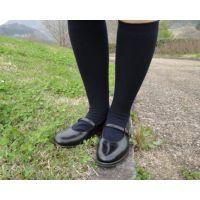 HARUTAのストラップ靴2_003 紺ハイソで