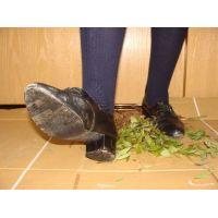 ヒール革靴012 レトロな感じの靴で踏み潰し
