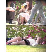 公園でデート中の黒パンツ丸見え女子〜動画〜