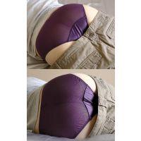 同僚美形OLの柔らかい色白美巨尻にピッタリ張り付く紫のメッシュパンティー