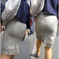 タイトなスカートの中でユッサユサ揺れる巨尻の美人奥様...